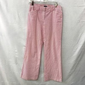 J Crew Pink And White Striped Bootcut Low Fit Pant
